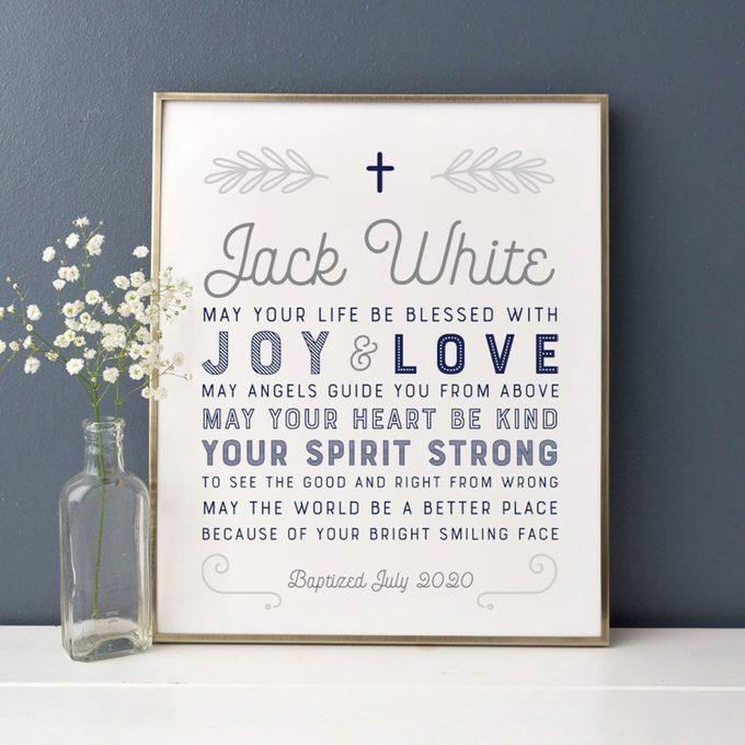 Baptism Gift Boy, Personalized PRINTABLE, Baby Boy Gift, Baptism Sign, Nursery Wall Art, Dedication Gift, Godson, Nursery Decor, PRINTABLE