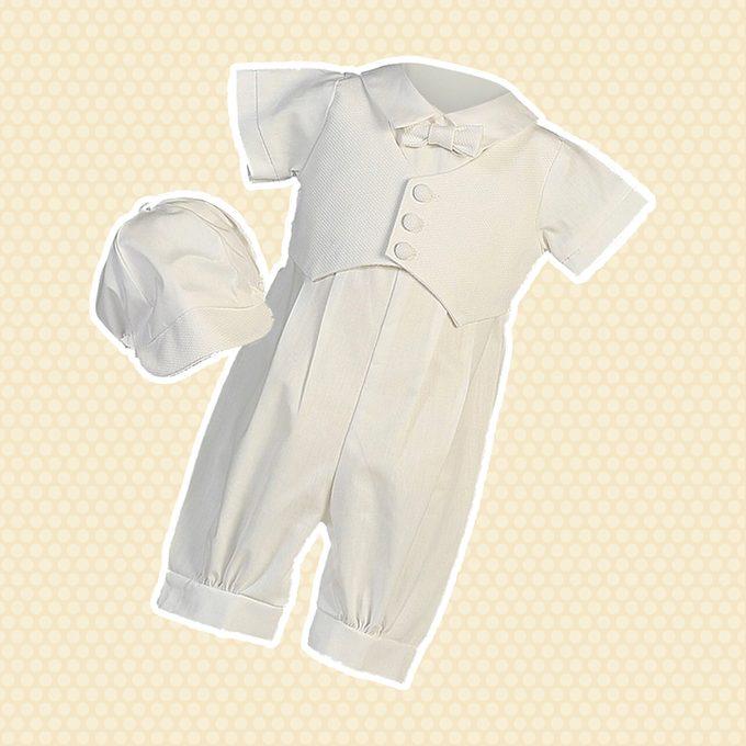 Baby Boys White Pique Vest Cotton Romper Baptism Outfit Set 12-18M