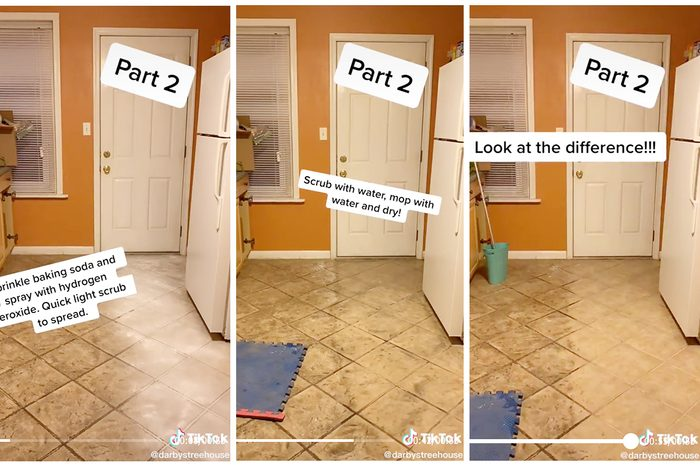Collage Of Tiktok Showing The Best Tile Floor Cleaning Hack