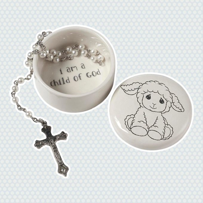 2-Piece Baptism Covered Box with Rosary Set