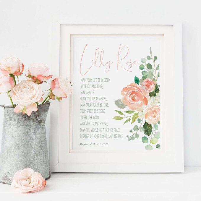 Baptism Gift Girl, Personalized PRINTABLE, Baby Girl Gift, Nursery Wall Art, Godchild Baptism Sign Dedication Gift, Nursery Decor, PRINTABLE