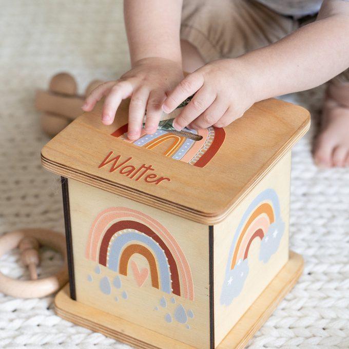 Personalized Piggy Bank, Gender Neutral Decor, Rainbow Decor, Coin Bank, Kids Birthday Gift