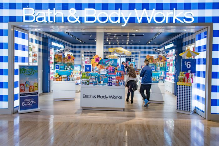 bath and body works store front in a mall
