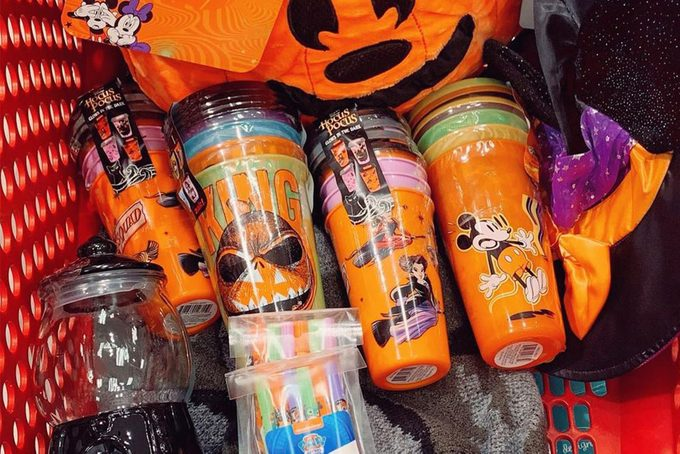Hocus Pocus Halloween Glow In The Dark Cups From Target in a shopping cart