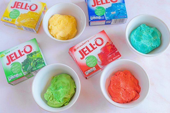 different bowls of colorful dough for jello cookies