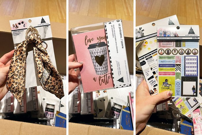 three side by side images of hand holding items found in Michaels grab bags above the box of items itself