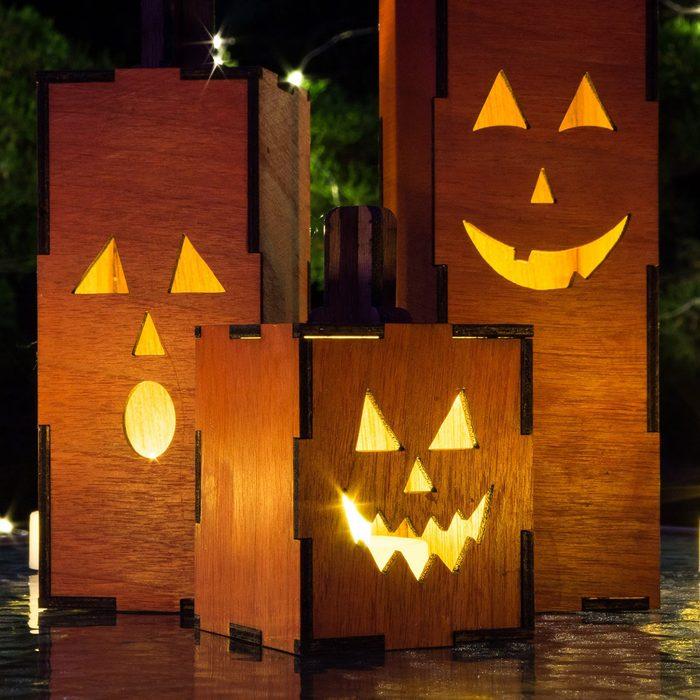 Mini Wooden Jack O' Lanterns