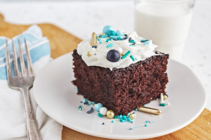 Wacky Cake with frosting and sprinkles