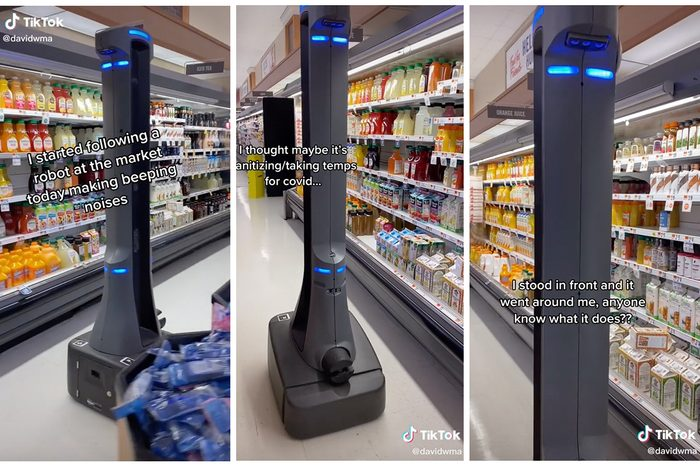 Collage Of Tiktok Showing Badger Brand Robots In Grocery Stores