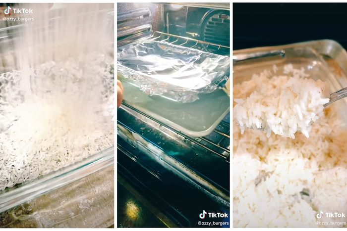 Collage Of Tiktok Showing How To Bake Rice