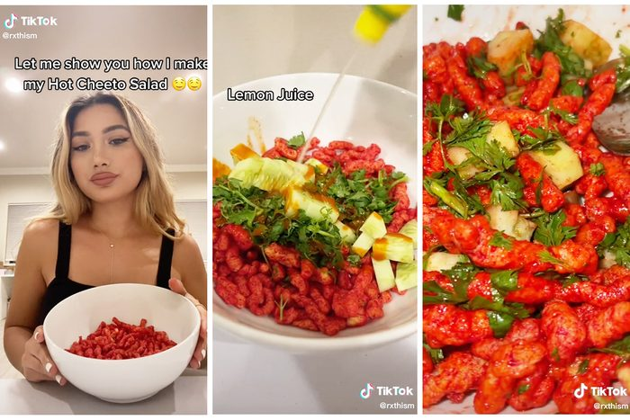Collage Of Tiktok Showing How To Make Hot Cheeto Salad