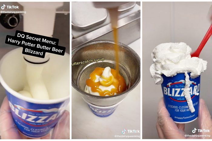 Collage Of tiktok Showing How To Make A Harry Potter Butter Beer Blizzard From Dairy Queen Secret Menu