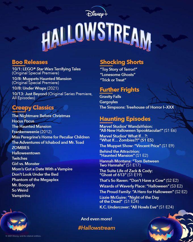Disney Plus Halloween Movies Hallowstream Schedule