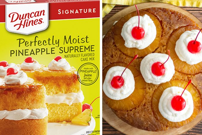 Duncan Hines Upside Down Pineapple cake box and cake side by side