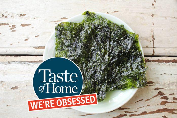 Seaweed snacks with Taste of Home We're Obsessed logo